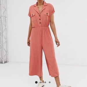 ASOS button detail shirt jumpsuit w/ short sleeve